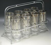 MID CENTURY DOROTHY THORPE PLATINUM LINES  8 HIGHBALL GLASSES WITH CADDY MAD MAN