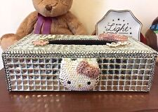 Bling Handmade Hello Kitty Crystal PU Leather Tissue Box Cover