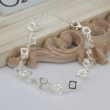 Women 925 Silver Color Fashion Charm Box Crystal Rhinestone Chain Bracelet