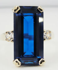 14K Yellow Gold Blue Clear  CZ Elongated Ring Modern Style Size 8.25
