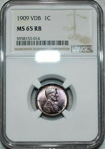 1909 VDB LINCOLN WHEAT CENT NGC MS 65 RB REMARKABLE TONED COLOR RED BROWN GEM