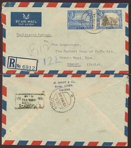 ADEN to INDIA REGISTERED BLANK ETIQUETTE 14A + 1A FRANKING AIRMAIL 1948 BHOT ENV
