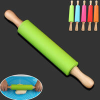 1Pc Non Stick Long Wooden Handle Silicone Rolling Pin Fondant Cake Baking Tool