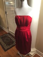 White House Black Market RED SATIN RUCHED Sexy Pleated cocktail dress SIZE 4
