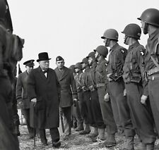 WW2  Photo WWII US 101st Airborne Inspected by PM Churchill World War Two / 1620
