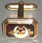 VINTAGE CORRECT QUALITY ENAMEL RUBY RED CUFFLINK 40s 50s? one only shrine mason?