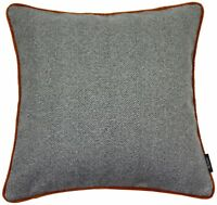 McAlister Textiles Herringbone Boutique | Charcoal with Orange Cushion Covers &.