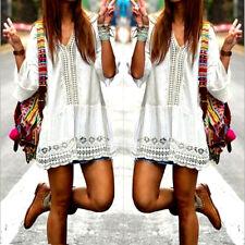 Bohemian Strandkleid in weiß mit Spitzen Muster im Boho Ibiza Style in Größe M/L