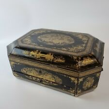 More details for antique 19th century chinese black and gilt lacquer games / sewing box