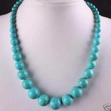"""NEW 6-14mm Blue Turkey Turquoise Gems Round Beads Necklace 18""""AAA"""
