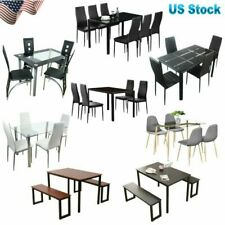 3 5 7 Piece Dining Table Set 2 Benches 4 6 Chair Glass Wood Kitchen Dining Room