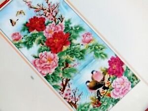 CHINESE BAMBOO CANE FENG SHUI WALL HANGING SCROLL PICTURE PEONY LOVE BIRD 12-10