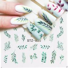 Nail Art Water Decals Stickers Transfers Green Tropical Palm Trees Leaf Fern 825