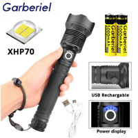 200000 Lumens Zoomable XHP70 LED USB Rechargeable Flashlight Torch Super Bright