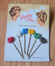Vintage Back-To-Back HEARTs Bobby Pins Hand Painted set of 6 carded Retro Cute