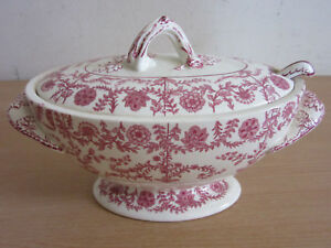 Antique 1800s COPELAND red transferwear small tureen with ladle