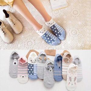 Women Cute Animal Cotton Ankle Short Socks Slippers Casual Soft Funny Boat Socks