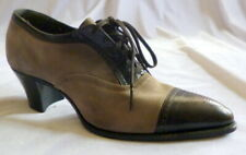 Vintage 1920s Grey Suede & Leather Shoes Lace Up Size 5 1/2