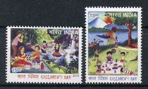 India 2016 MNH Children's Day Picnic 2v Set Trees Flowers Landscapes Stamps