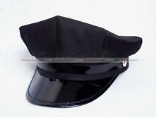 Black Octagon Captain Skipper Police Sheriff Hat Cap Party Costume Cosplay