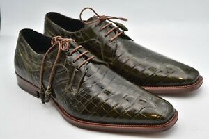 Mezlan  Genuine  Alligator Spain Olive Shoes MEN'S SZ8.5 M Fit US 9