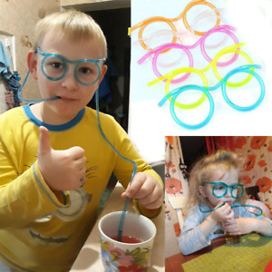 Soft Kids Party Toy Fun Drinking Flexible Straw Glasses Free Shipping US