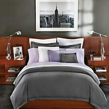 Ralph Lauren Grey Haberdashery Pinstripe King Duvet & King Bed Skirt 2 Pc Set