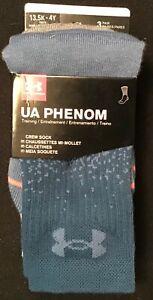 Under Armour UA Phenom Youth Crew Socks 3 Pair Pack Size 13.5K - 4Y Petrol Blue