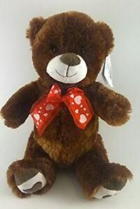 Plush Teddy Bear w Bow Toy 11 inch Brown NEW Gift, Baby Shower, Valentine, Love