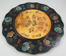 Vintage Hand Painted Wood Wall Decor Plate Baa Baa Black Sheep