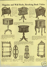 1933 PAPER AD Furniture Revolving Book Case Table RARE Carved Magazine Rack