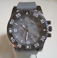 Men's Geneva Camouflage Gray Silicon Band Dressy/Casual Fashion Wrist Watch