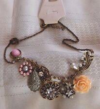 Necklace Fashion Chunky Bib Antique Brass Chain Flower Pink Peach