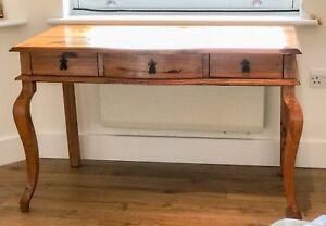 FRENCH STYLE SOLID ANTIQUE PINE DRESSING TABLE WI CURVED CREOLE LEGS SHABBY CHIC