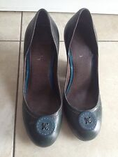 Faith Ladies Teal Button Front Heeled Shoes Size 5. Good Condition.