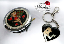 Betty Boop Mothers Day gift - Betty Boop Roses Compact Mirror & Keyring