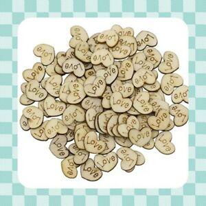 "100 Rustic Wood Hearts  - ""LOVE"" WEDDING - Table Confetti - Crafts -"
