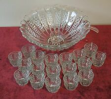 20PC SET BUTTON PANEL DUNCAN AND MILLER PUNCH BOWL &CUPS +LADLE  PRESSED GLASS