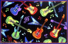 "4'3"" x 6'6""  Area Rug Guitars Rock N Roll Music Fun Time Guitar Black New 5x7"