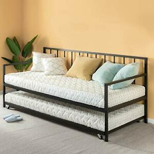 Zinus Eden Twin Daybed and Trundle Set / Premium Steel Slat Support / Daybed and