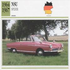 1964-1967 NSU SPIDER Sports Classic Car Photo/Info Maxi Card