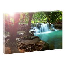 Wasserfall- Panorama Bild Feng Shui  Leinwand Poster Wandbild 120 cm* 80 cm 702