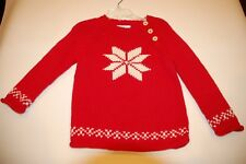 New Mini Boden Red Snowflake Sweater, Size 18-24 months
