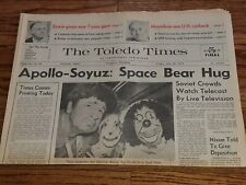 APOLLO-SOYUZ Rendezvous in Space July 18, 1975 Newspaper TOLEDO OHIO TIMES