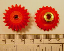 Bevel gears - pair - red nylon / brass hub with grub screw - 4mm bore
