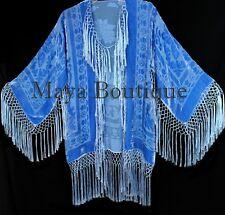 Maya Matazaro Sky Blue Silk Burnout Velvet Fringe Jacket Short Kimono