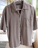 Mens Very Nice 100% Silk Olive Green Shirt By Baracuta Size L