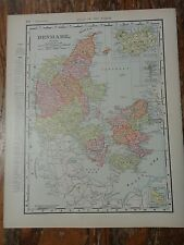Nice colored map of Denmark -1907 Universal Atlas of the World
