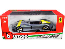 Ferrari Monza SP1 Silver Metallic with Yellow Stripes 1/24 Diecast Model Car by