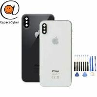 Vitre arrière Cache batterie iPhone X Noir Blanc + Lentilles + Adhésif Logo CE